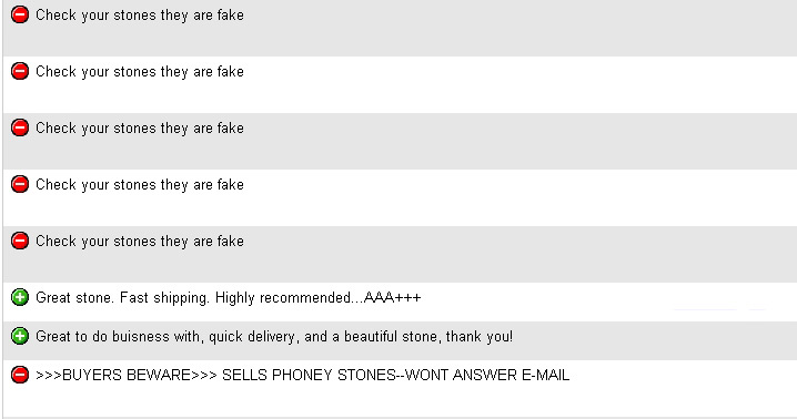 feedback ebay fake gems