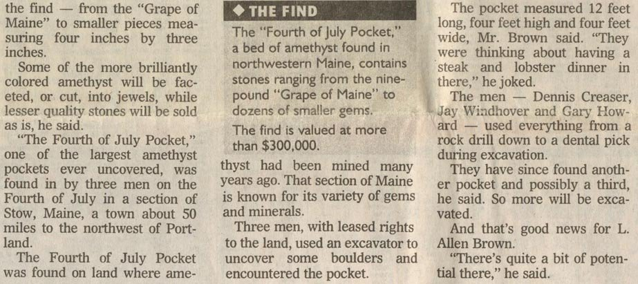 All That Glitters, LET Maine Amethyst Article