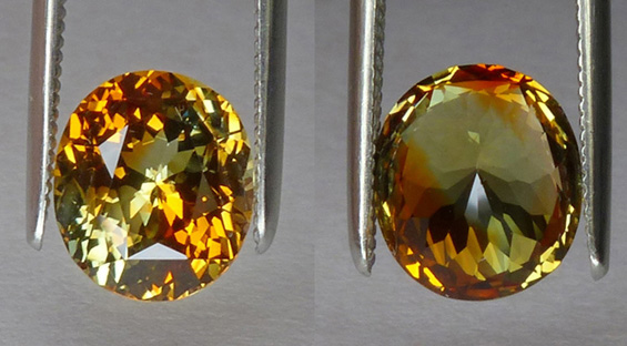 unique multi-colored, orange and green sapphire