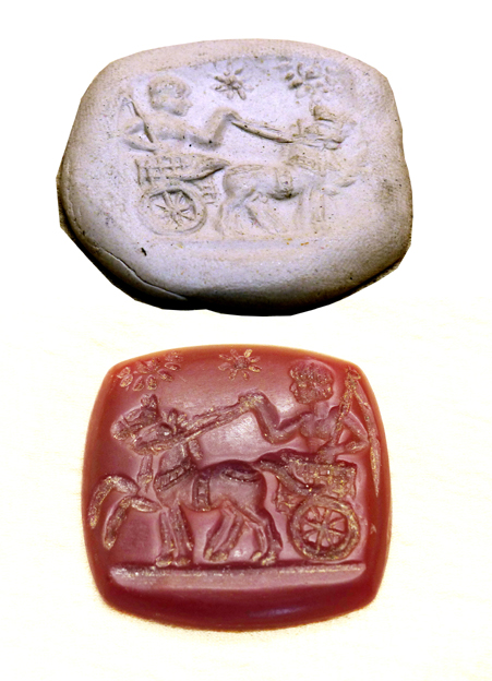 seal with warrior, shield, chariot