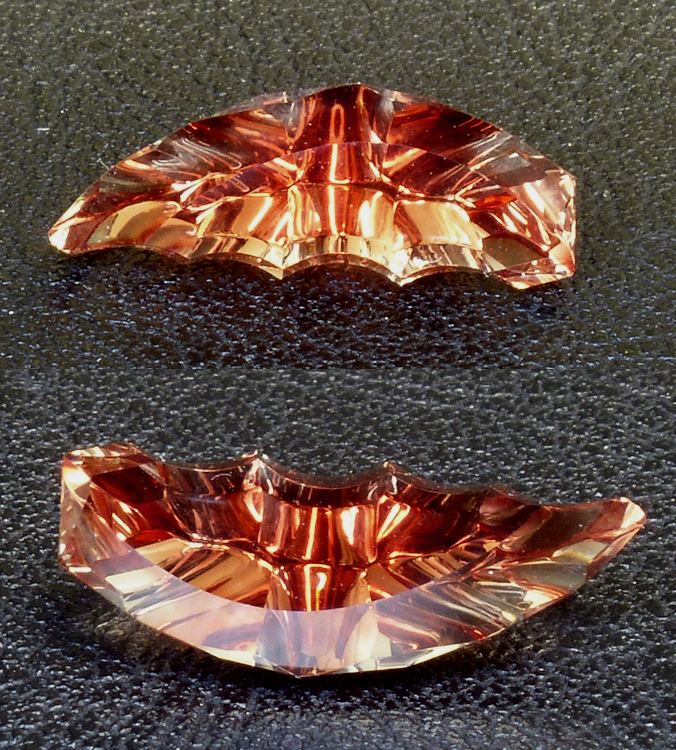 incredible cresent moon shaped faceted oregon sunstone