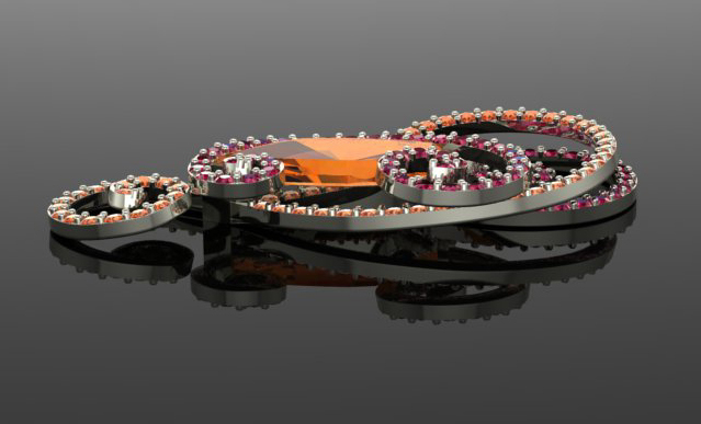 CAD-CAM Rendering for custom imperial topaz pendant with sapphires