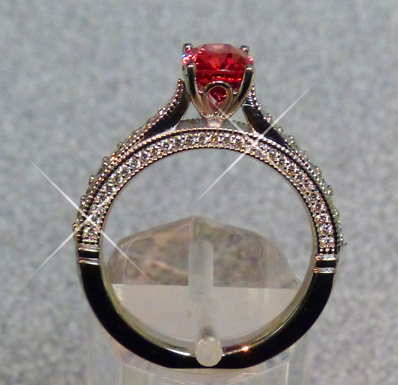 pad-like burmese spinel in ring