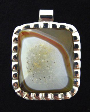 drusy agate sterling pendant