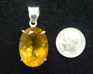 honey quartz in sterling pendant