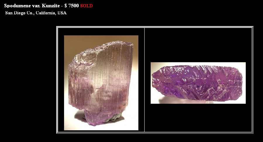 incredible purple/blue/green kunzite crystal, oceanview mine, california