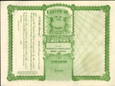 uncancelled 1906 mining stock certificate - back