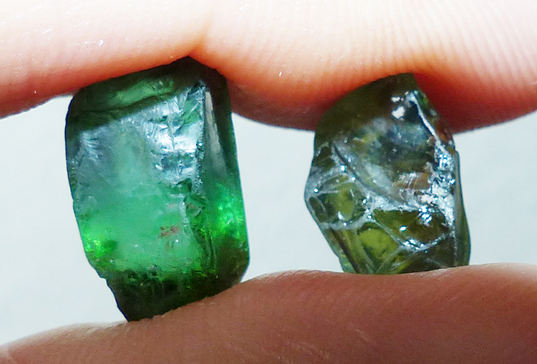Rough Tourmaline and Sapphire - Future Faceted Gems